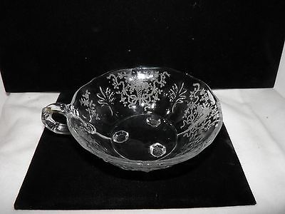 Vintage Fostoria Crystal Nappy - Corsage Etched Pattern