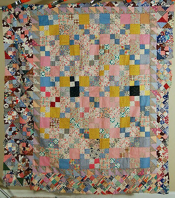 BEAUTIFUL Vintage 30's Double Four Patch Antique Quilt Top ~Sawtooth Border!