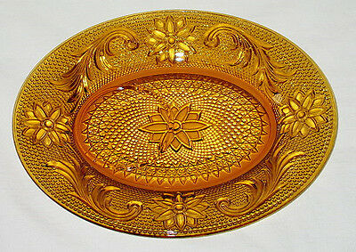 Tiara Crystal Sandwich Pattern Amber Snack Plate (no cup)