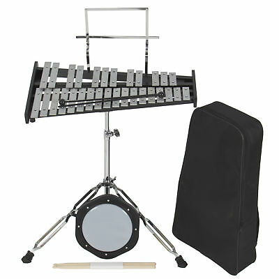 30 Notes Percussion Glockenspiel Bell Kit W/ Practice Pad +Mallets+Sticks+Stand