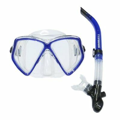 TYPHOON PRO Adult mens ladies Silicone Mask & Snorkel Set Blue - Scuba Dive