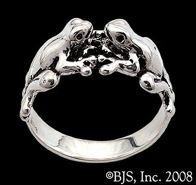 Sterling Silver Double Frog Ring, Kissing Frogs Jewelry, Frog Prince, Your Size