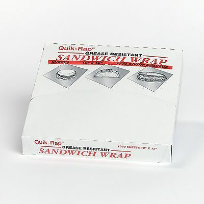 "Dixie Quik Wrap Sandwich Wrap Grease Resistant 12"" x 12"" 1 Pk 1,000 Sheets"