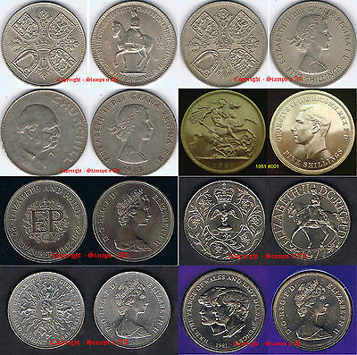 GB 5 shillings Crown 25 Pence 1951 to 1981. You choose. Supplied in Coin Wallet