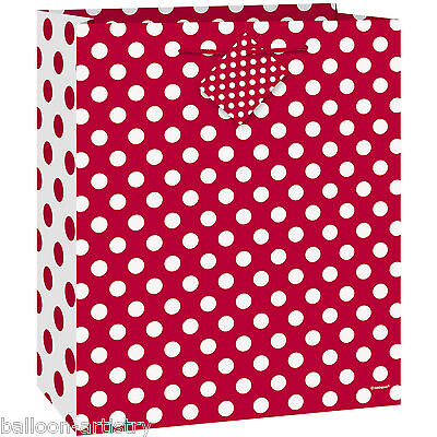 Medium Size RED White Polka Dot Spot Style Party Paper Treat Loot Gift Bag