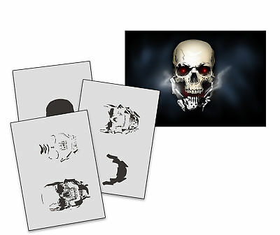 Step by Step Airbrush Stencil AS-235 Metall Schädel ~ Template ~ UMR-Design