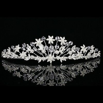 Lovely Handmade Bridal Floral Rhinestone Crystal Prom Wedding Crown Tiara 8920