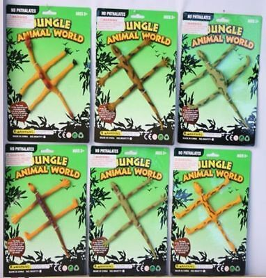 36 x Jungle Animal Bendy 6 Assorted Assorted Toys Bulk Wholesale lot