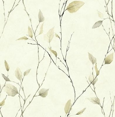 Golden Beige Leaves On Black Branches On Off White Wallpaper AW11043