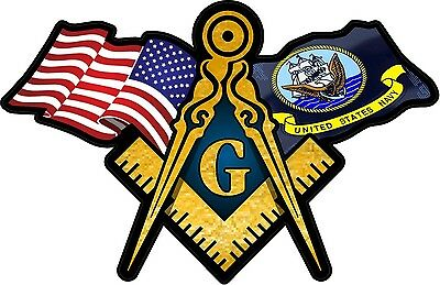 "1 - 3"" x 5"" American & Navy Flags Masonic Compass Square Decal Sticker 086"