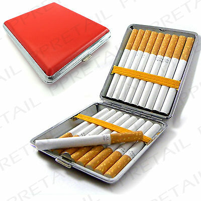 RED FAUX LEATHER CIGARETTE CASE Tin Holder Protector Tobacco Smoking Roll Ups