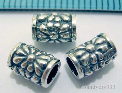 2x BALI OXIDIZED STERLING SILVER FLOWER TUBE CORD SPACER BEADS 6.9mm 4.7mm N026