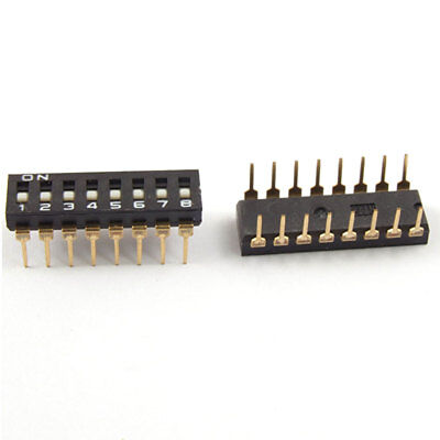 5 Pcs 2.54mm Pitch 8 Position IC Type DIP Switch Black