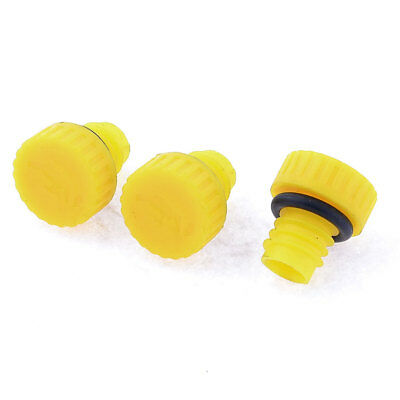 """3 Pcs Yellow 0.59"""" Outer Thread Plastic Oil Plug for Air Compressor"""
