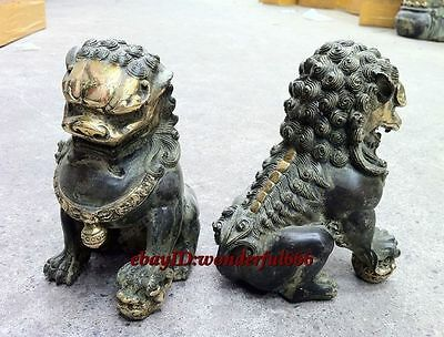 Chinese Qing Dynasty Door fengshui Bronze Guardion Lion Foo Dogs Old Statues