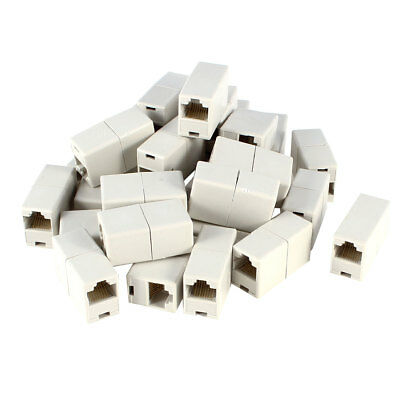 Off White Double Connector RJ45 F/F Modular Network Coupler Adapter 20 Pcs