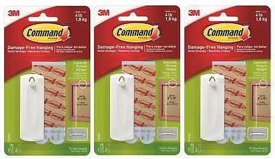 Pack of 3 3M Command Sawtooth Picture Hanger Damage Free Hook Hold up to 1.8kg