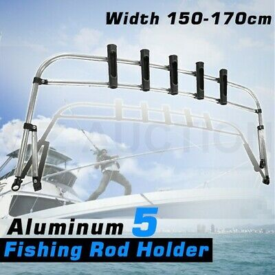 Aluminium Fishing Rod Holder Rocket Launcher Bimini Top Boat Organiser - 5 Rod