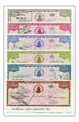 Zimbabwe 2003 Complete 6 Travelers Cheque Set Rare - Free Shipping !