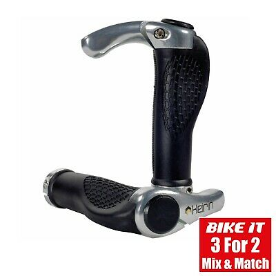 New Lock-On Cycle Anatomic Handlebar Grips With Bar Ends Silver - Mtb Hybrid