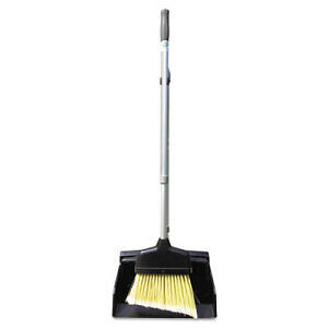 """Unger Ergo Dust Pan With Broom, 12"""" Wide, 45"""" High, Metal, Black/silve"""