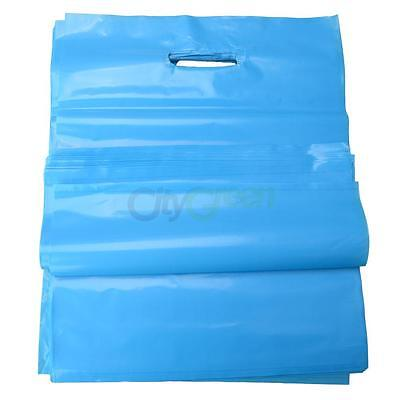 100 Qty. BLUE Plastic T-Shirt Retail Shopping Bags w/ Handles Medium 12 x 15