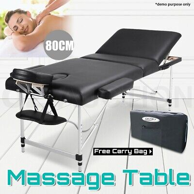 New Portable Aluminium Massage Waxing Therapy Table 3 Fold Beauty Bed Black 80cm
