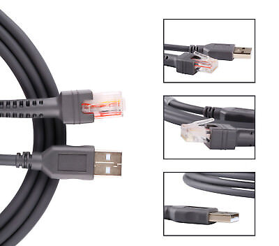 Symbol CBA-U01-S07ZAR USB Cable For Barcode Scanner LS2208 LS4208 DS6878 4-Pack