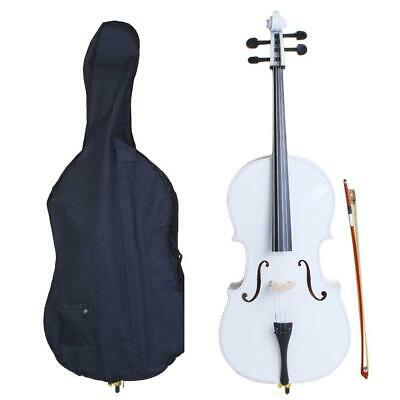 New 4/4 Size Professional Basswood White Color Cello +Bag+Bow+Rosin+Bridge