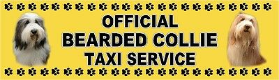 BEARDED COLLIE OFFICIAL TAXI SERVICE  Dog Car Sticker  By Starprint