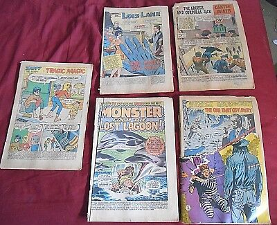 Lot Of 5 1968 To 1970 Rare Comic Books No Covers Fantastic 4, Army War Heroes