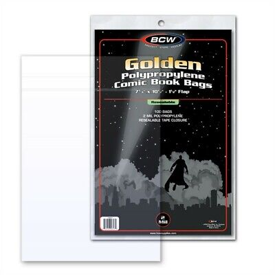 Pack 100 BCW Resealable Golden Age Comic Book 2mil Archival Poly Bags 7 5/8x10.5