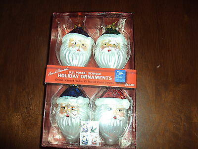 U.S. POSTAL SERVICE (USPS) Hand Painted Glass Santa Ornaments Set of 4 **NEW**
