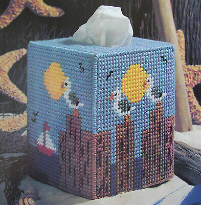BY-THE-SEA BOUTIQUE, Plastic Canvas Pattern, CUTE TISSUE BOX COVER