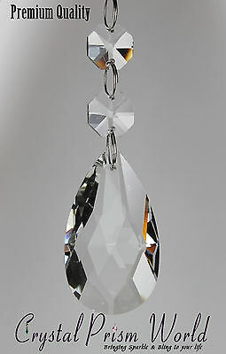 """Pack of 10"" DOUBLE TEARDROP GLASS CHANDELIER CRYSTALS PRISMS LAMP PARTS NEW"