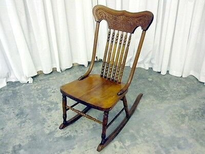 Antique Walnut Rocking Chair with Pressed Back Spool Splat and Bent Wood Stiles