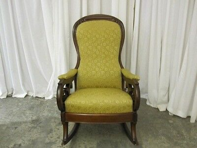Antique Dark Walnut Bentwood Rocker w Extra Nice Upholstery MUST SEE Beautiful