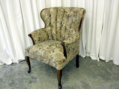 Very Nice Vintage Channel Back Chair W New Upholstery Neutral Colors Xtra