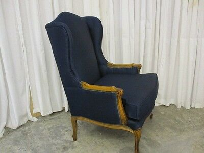Antique Wing Back Chair Maple Trim w Fresh Upholstery Elegant Style MUST SEE IT!