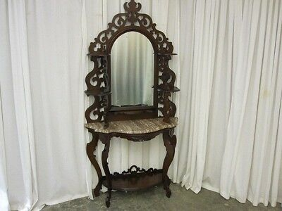 Antique Victorian Style Marble Top Mirrored Walnut Étagère Excellent Condition