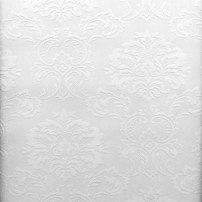Victorian Damask Raised White Textured Paintable Wallpaper 497-32808 / 32808