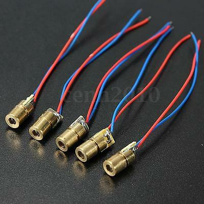5Pcs Per Lot 650nm 6mm 4.5V 4mW Mini Laser Dot Diode Module Head Red Copper Tube
