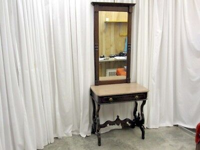 Antique Walnut Eastlake Pier Mirror w Marble Top Desk