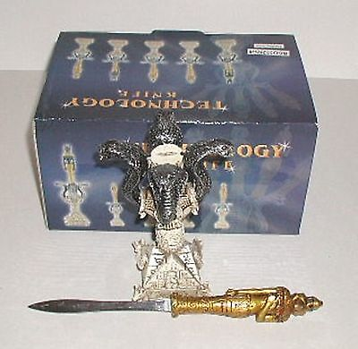 (1) EGYPTIAN GOD ~ HORUS ~ LETTER OPENER /SWORD On Cobra Snake / Serpent Stand