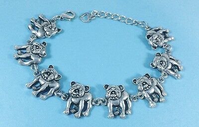 Adjustable French Bulldog Lovers Bracelet antique silver plated