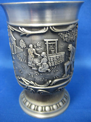 "4 .5 "" SKS Antique  German Solid Pewter Embossed  Engraved Cup/Container Nice"
