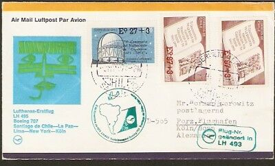 252 CHILE TO GERMANY FFC COVER 1974 LUFTHANSA B-707 FIRST FLIGHT COVER