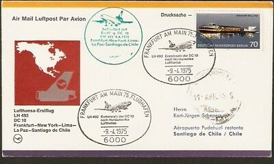 336 GERMANY TO CHILE FFC COVER 1975 LUFTHANSA DC-10 FIRST FLIGHT COVER