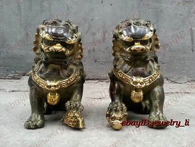 Collection Chinese Qing Dynasty Door fengshui Bronze Lion Foo Fu Dogs Statues
