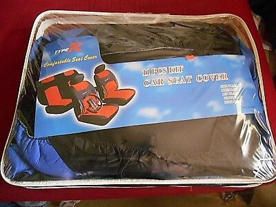 New 11 Pc. Car Seat Cover Kit Blue/black W/ Flames Type R Steering Wheel Cover